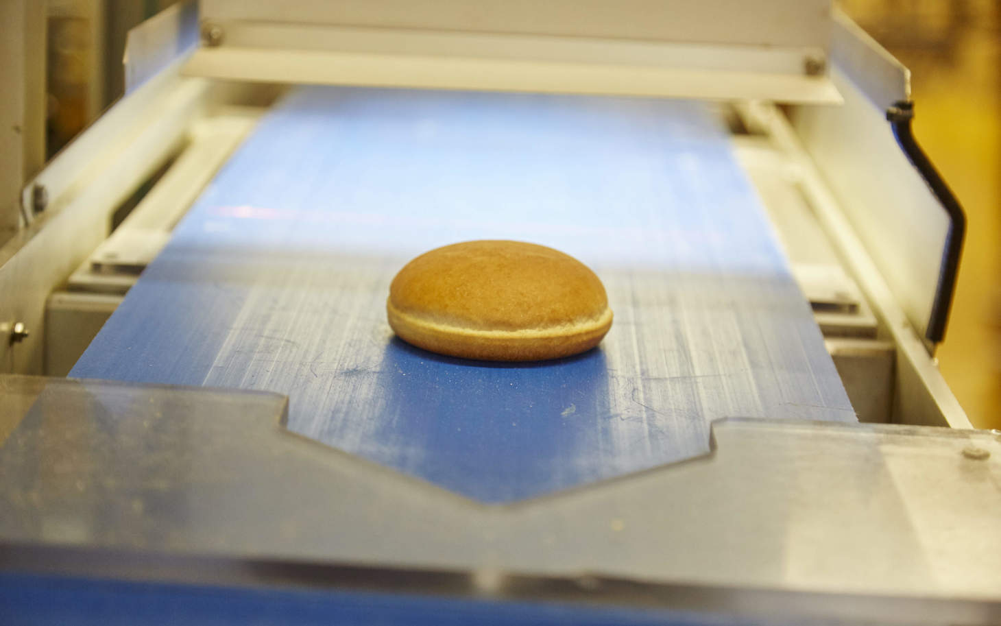 Hamburger Brötchen auf Produktionsband in der Fortisa AG