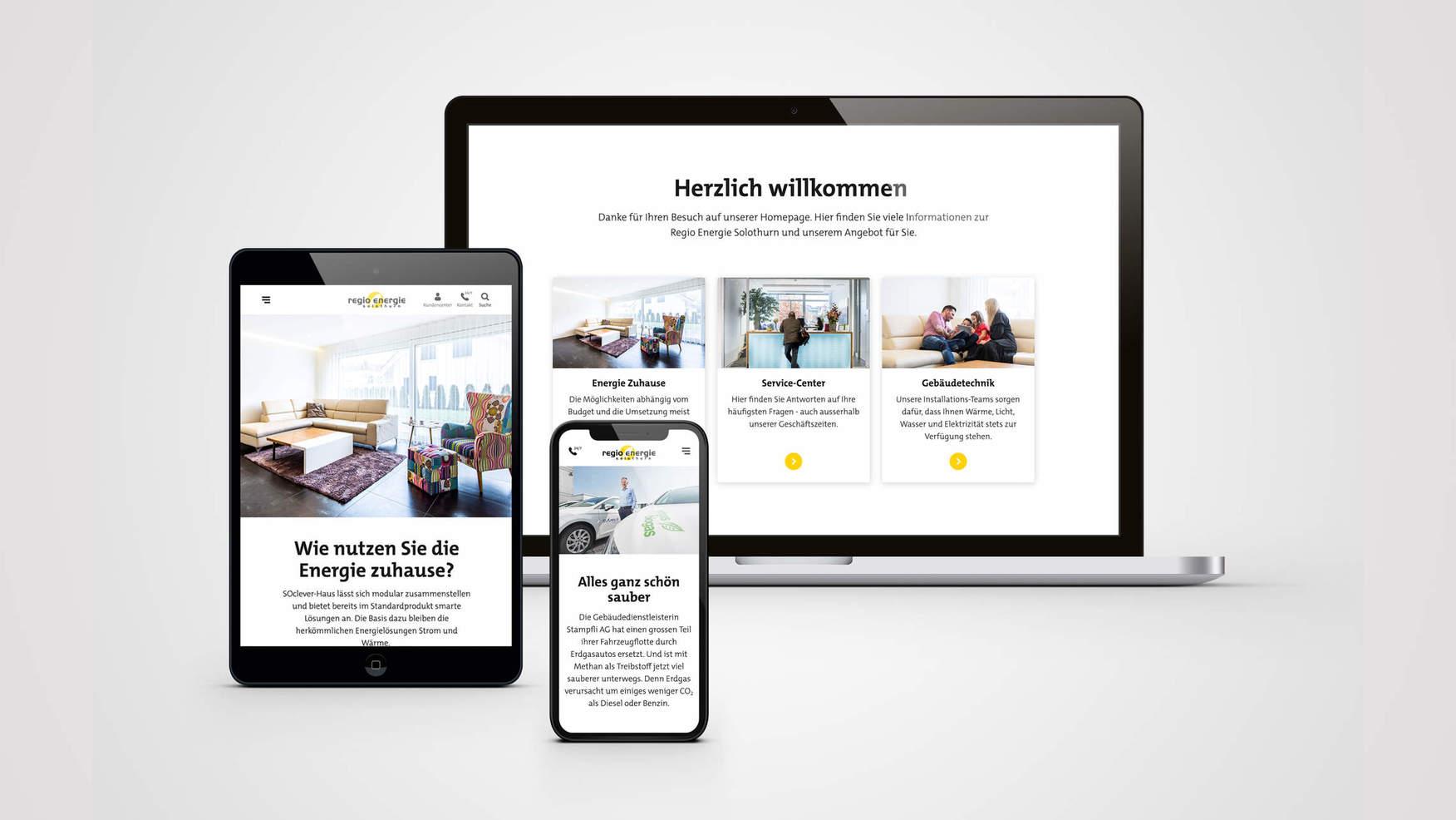 Die neue Website auf Smartphone, Tablet und Laptop