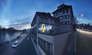 egio Energie Solothurn Firmengebäude in der Abenddämmerung