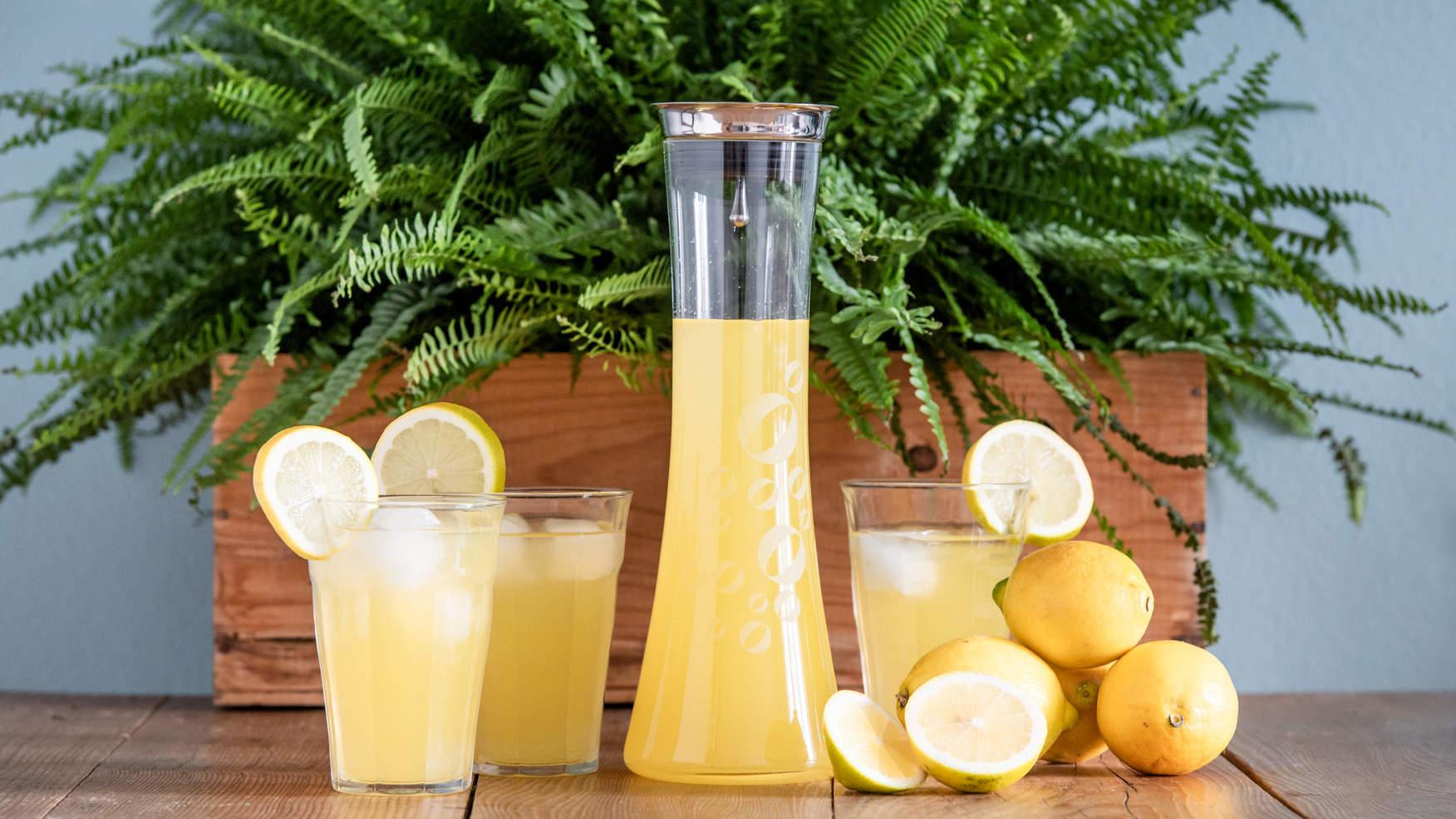 Holundersirup mit Zitronen vor einer grünen Pflanze